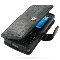 Leather Book Case for Samsung SGH-i780 (Black Crocodile Pattern)
