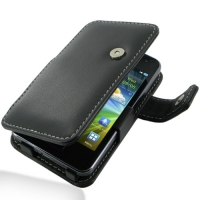 Samsung Wave M Leather Flip Cover (Black) PDair Premium Hadmade Genuine Leather Protective Case Sleeve Wallet