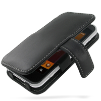 Leather Book Case for Sharp IS03 (Black)