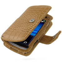 Leather Book Case for Sony Ericsson Vivaz U5i (Brown Crocodile Pattern)