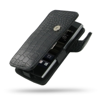 Sony Ericsson Xperia Ray Leather Flip Cover (Black Croc) PDair Premium Hadmade Genuine Leather Protective Case Sleeve Wallet
