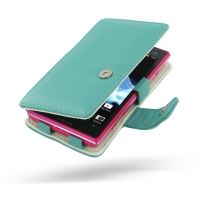Sony Xperia Acro S Leather Flip Cover (Aqua) PDair Premium Hadmade Genuine Leather Protective Case Sleeve Wallet