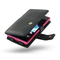 Sony Xperia Acro S Leather Flip Cover (Black Croc) PDair Premium Hadmade Genuine Leather Protective Case Sleeve Wallet