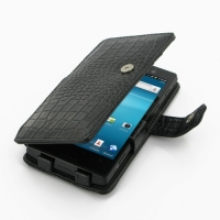 Sony Xperia Ion Leather Flip Cover (Black Croc) PDair Premium Hadmade Genuine Leather Protective Case Sleeve Wallet