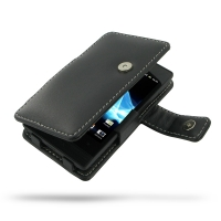 Leather Book Case for Sony Xperia Miro ST23i (Black)