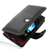 Leather Book Case for Sony Xperia Sola MT27i (Black)