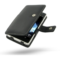 Sony Xperia TX Leather Flip Cover (Black) PDair Premium Hadmade Genuine Leather Protective Case Sleeve Wallet