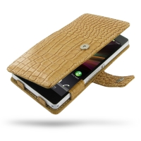 Leather Book Case for Sony Xperia Z L36H (Brown Crocodile Pattern)
