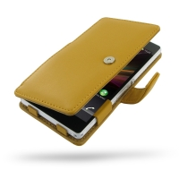 Leather Book Case for Sony Xperia Z L36H (Golden Palm)
