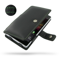 Leather Book Case for Sony Xperia Z L36H (Green Stitch)