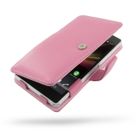 Leather Book Case for Sony Xperia Z L36H (Petal Pink)