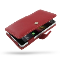 Leather Book Case for Sony Xperia Z L36H (Red)