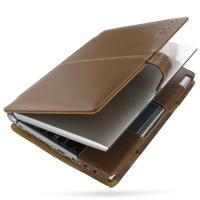 Leather Book Case for Sotec Minimum PC C102 Series (Brown)