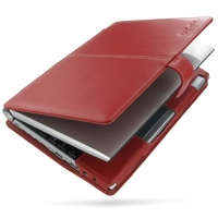 Leather Book Case for Sotec Minimum PC C102 Series (Red)