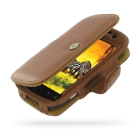T-Mobile HTC myTouch 4G Leather Flip Cover (Brown) PDair Premium Hadmade Genuine Leather Protective Case Sleeve Wallet