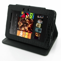 10% OFF + FREE SHIPPING, Buy PDair Quality Handmade Protective Amazon Kindle Fire HD Genuine Leather Flip Carry Cover (Black Croc). You also can go to the customizer to create your own stylish leather case if looking for additional colors, patterns and ty