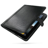 Leather Book Stand Case for Apple iPad (Black Crocodile Pattern)
