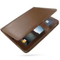 Leather Book Stand Case for Apple iPad (Brown)