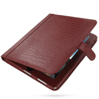 Leather Book Stand Case for Apple iPad (Red Crocodile Pattern)