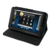 Dell Streak 7 Leather Flip Carry Cover (Black Croc) PDair Premium Hadmade Genuine Leather Protective Case Sleeve Wallet