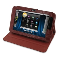Dell Streak 7 Leather Flip Carry Cover (Red Croc) PDair Premium Hadmade Genuine Leather Protective Case Sleeve Wallet
