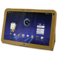 Leather Book Stand Case for Motorola XOOM (Brown Crocodile Pattern)