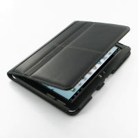 Samsung Galaxy Tab 2 10.1 Leather Flip Carry Cover (Black) PDair Premium Hadmade Genuine Leather Protective Case Sleeve Wallet