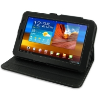Leather Book Stand Case for Samsung Galaxy Tab 7.0 Plus GT-P6200 (Black)