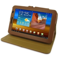 Leather Book Stand Case for Samsung Galaxy Tab 7.0 Plus GT-P6200 (Brown)