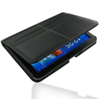 Samsung Galaxy Tab 8.9 Leather Flip Carry Cover (Black) PDair Premium Hadmade Genuine Leather Protective Case Sleeve Wallet