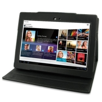 Sony Tablet S Leather Flip Carry Cover (Black) PDair Premium Hadmade Genuine Leather Protective Case Sleeve Wallet