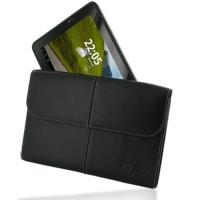 Fujitsu STYLISTIC MH350 Leather Sleeve Pouch (Black) PDair Premium Hadmade Genuine Leather Protective Case Sleeve Wallet