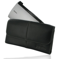 Sony Tablet P Leather Sleeve Pouch (Black) PDair Premium Hadmade Genuine Leather Protective Case Sleeve Wallet
