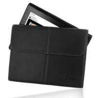 Sony Tablet S Leather Sleeve Pouch (Black) PDair Premium Hadmade Genuine Leather Protective Case Sleeve Wallet
