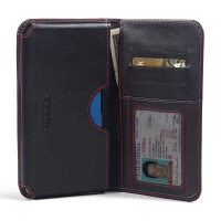 Alcatel One Touch Idol 3 5.5 Leather Wallet Sleeve Case (Red Stitch) PDair Premium Hadmade Genuine Leather Protective Case Sleeve Wallet