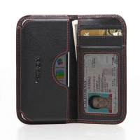Leather Card Wallet for Apple iPhone 5c (Red Stitch)