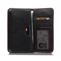 Leather Card Wallet for Apple iPhone 6 Plus | iPhone 6s Plus (Black Pebble Leather/Red Stitch)