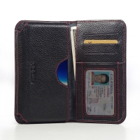 Leather Card Wallet for Asus PadFone Infinity A80 (Black Pebble Leather/Red Stitch)