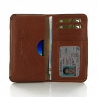 Asus PadFone Infinity A80 Leather Wallet Sleeve Case (Brown Pebble Leather) PDair Premium Hadmade Genuine Leather Protective Case Sleeve Wallet