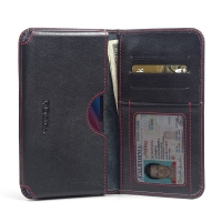 Asus Zenfone Selfie ZD551KL Leather Wallet Sleeve Case (Red Stitch) PDair Premium Hadmade Genuine Leather Protective Case Sleeve Wallet
