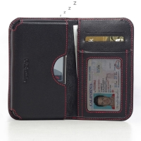 Leather Card Wallet for BlackBerry Classic (Red Stitch)
