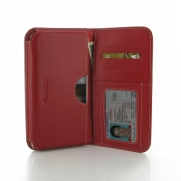 Huawei Ascend Mate 7 Leather Wallet Sleeve Case (Red) PDair Premium Hadmade Genuine Leather Protective Case Sleeve Wallet