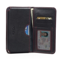 Leather Card Wallet for Lenovo A5800 (Red Stitch)