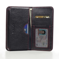 Leather Card Wallet for Lenovo A5800 (Black Pebble Leather/Red Stitch)