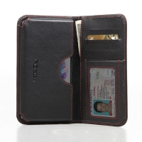 LG G3 Leather Wallet Sleeve Case (Red Stitch) PDair Premium Hadmade Genuine Leather Protective Case Sleeve Wallet