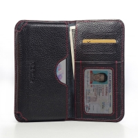 Leather Card Wallet for LG G3 D850 D855 (Black Pebble Leather/Red Stitch)