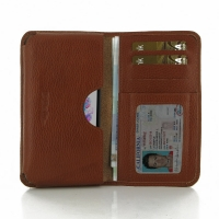LG G3 Leather Wallet Sleeve Case (Brown Pebble Leather) PDair Premium Hadmade Genuine Leather Protective Case Sleeve Wallet