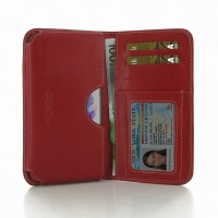 LG G3 Leather Wallet Sleeve Case (Red) PDair Premium Hadmade Genuine Leather Protective Case Sleeve Wallet