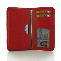 Leather Card Wallet for LG G3 D850 D855 (Red Pebble Leather)
