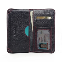 Leather Card Wallet for LG G4 H815 (Black Pebble Leather/Red Stitch)